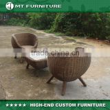 stylish wicker low seat chair and square table patio furniture set