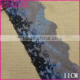 Factory high quality embroideried black 11cm nylon Lace for shirt accessories