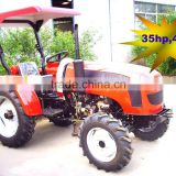35HP 4wd mini farm tractor with loader and backhoe,4cylinders,8F+2R shift,with Cabin,heater,fan,fork,blade
