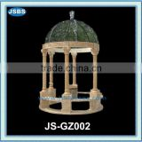 2015 New Product Hand Caved Beige Marble Gazebo Garden Ornaments
