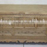 Chinese Antique Beatiful Reclaimed Wood Hand Carved Low Cabinet/ TV Table