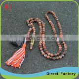 Fashion Natural Stone Crystal Color Tassel Necklace