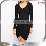 Spring/Autumn Ladies Black Long Sleeve Knitted Small Short Casual Dress