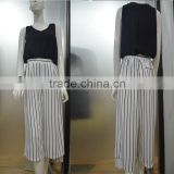 Summer Loose Design Black and White Striped Fashion Pants