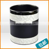 High-grade black leather household trash bins creative fashion stainless steel drum cartridge hotel supplies