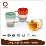 round ceramic mug with handle and colors glaze bullet mug
