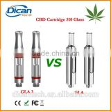 510 thread ceramic rod glass atomizer cbd oil tank cartridge with round metal tip bud touch vapor pen