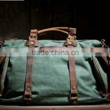 16 inch Green Canvas Bag messenger bag laptop bag Leather canvas bag School Canvas Bags tote bag Canvas Tote with Leather Handle