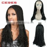 2016 hottest style 100% Japanese fiber lace front synthetic wig, kinky marley big braid wig