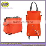 Orange Shoulder Folding Shopping Bags with Wheels GWB021