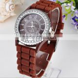 funky stylish Rhinestones Chronograph Silicone Watch display quartz wrist watch custom