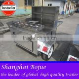 mobile hot-plate cabinet gas hot dog trailer with high hot dog grill and bun warmer