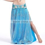 Brisk Net Fabric and Satin Belly Dance Skirt Split on Both Lateral , White Belly Dancing Skirt