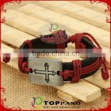 Top quality vintage style red and black stainless steel charm genuine leather bracelet for men