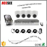 "2016 new products low price 4 channel AHDVR kit board hdcvi hd cvr cameras 4ch analog cctv kit 1/4"" OV 1.0MP cmos sensor, 720P"