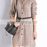 Alibaba express wholesale lady polo neck long sleeve long cardigan coat all-over cable knitted sweater with big button