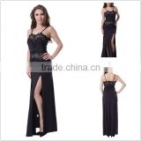 Provide copyright images adult women evening wear strappy full length long black lace dress