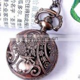 Roman Numberal Watch Antique Bronze Roman Numerals Chain Necklace Pendant Quartz Elegance Pocket Watch