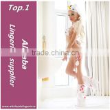 Very hot bikini style white and red plain snowman costumes christmas lingerie with hood