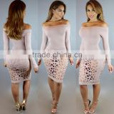 Bonvatt Autumn&Winter Sexy Hollow Out Low Round Neck Long Sleeve Slim Bandage Club Dress With Holes