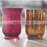 Spray color glass candle holder with vacuum electroplate for customer design