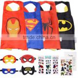 YS Super hero Cape and Mask Costumes For Kids SET- Capes, Masks Stickers and Tattoos