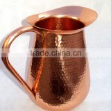 BPA FREE 100% COPPER HAMMERED PITCHER FOR WATER, BEER, MOSCOW MULE, SOLID COPPER WATER JUG