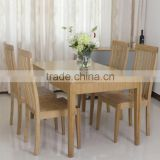 Dining room bamboo 6 pcs chair formal dining table set