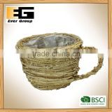 Handmade Natural Rattan Flower Pot Decor Garden Planter