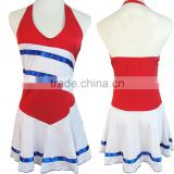 Wholesale Custom Team Name And Logo Sublimation Cheer Uniforms, Women's Adult Cheerleading Uniform Dress With Sexy Halter Design