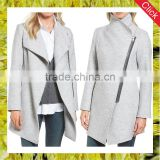 Custom ladies asymmetrical zip boiled wool blend autumn coats for women long cardigan jacket