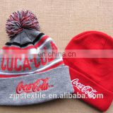Customize Jacquard Acrylic Striped Knitted Pom Pom Beanie Hat and cap with customized logo