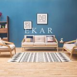 New Modern Design Leather Back Oak Ash Solid Wood Latest Design Sofa Set