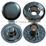 Button push metal/brass snap fastener for bags/trousers.
