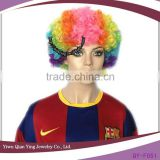 cheap small rainbow colorful curly clown small afro wig
