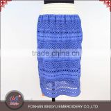 New design promotional soft latest fashion blue knit lace crochet lace skirt for women in stock