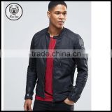 Mens Denim Biker Motorcycle Bomber Slim Fit Black Leather Jacket