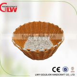 Home use round plastic hand weaving food basket
