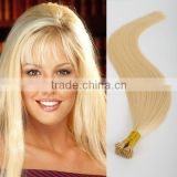 Wholesale i tip 613 100% human virgin eurasian remy hair silky straight pre bonded hair extension
