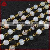 5mm-6mm opal white agate rondelle beads gold filled chain