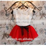 wholesale children chiffon skirt with white lace tshirt set cheap baby girls clothing set wholesale girls chiffon clothing