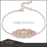 CYW beautiful charm bracelet with clear zirconia brass main material fashion bracelet bijoux