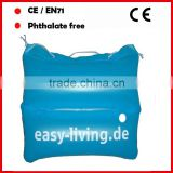 Blue color PVC inflatable pillow bag / beach bag with white logo for promotion