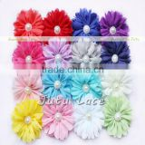 Best quality chiffon fabric ballerina hair flowers with beads-decorative handmade pearl center flower