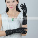 Ladies goatskin genuiene leather gloves wool lined with shirring from exporter of leather gloves