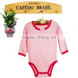100% cotton soft plain girl baby romper clothies with long/short sleeve