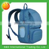 Toxin Free Polyester Backpack Diaper Bag Padded Baby Travel Bag Blue