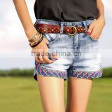 Urban embroidered Women jeans shorts pants female split denim half pant jeans