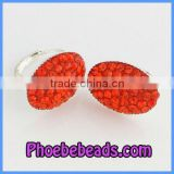 Hot Selling Clay Base Silver Plated Red Crystal Pave Earring Designs For Women PEA13