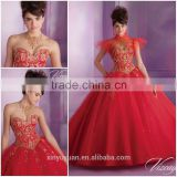 Hot Selling Western style sleeveless Red Beaded classic victorian Elegant Quinceanera Dress CYQ-017
